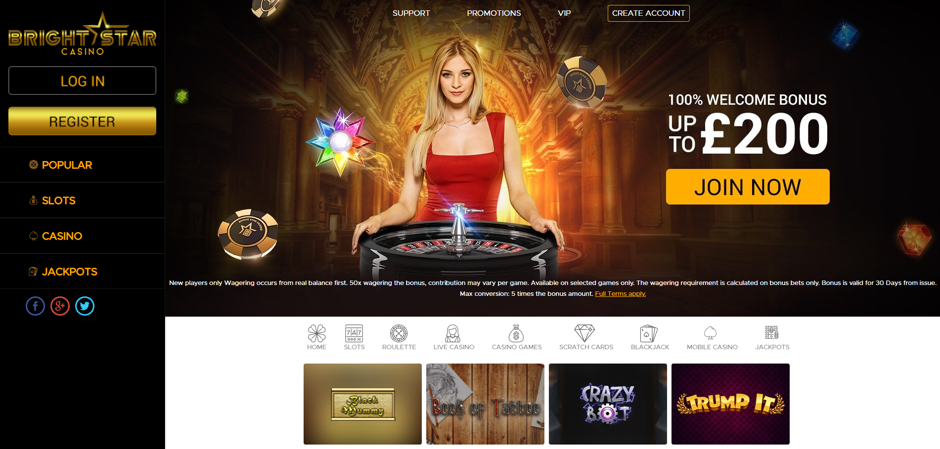 Bright Star Casino Home Page