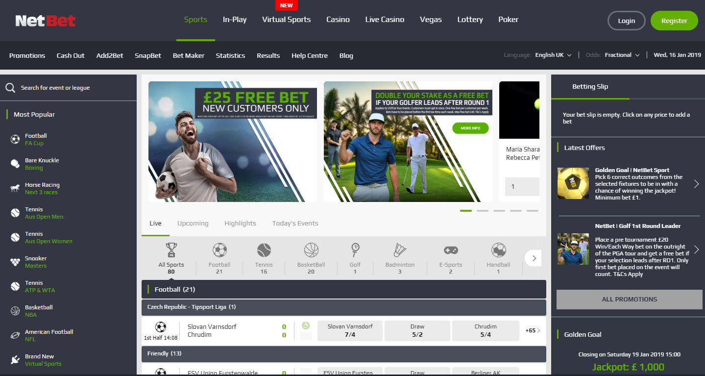 NetBet Sports Betting Home Page Free Bets