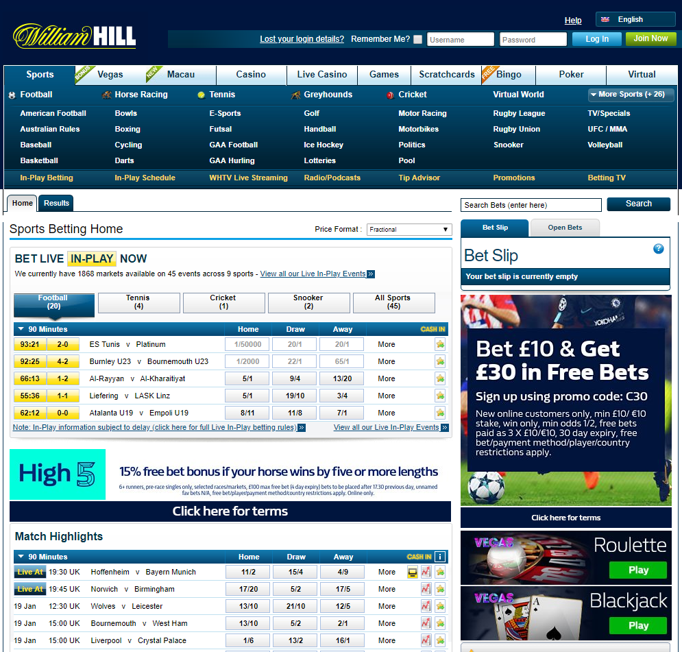 William Hill Home Page Review BestOnlineFreeBets